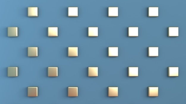 背面の壁に市松模様に配置されたゴールドキューブと青い色