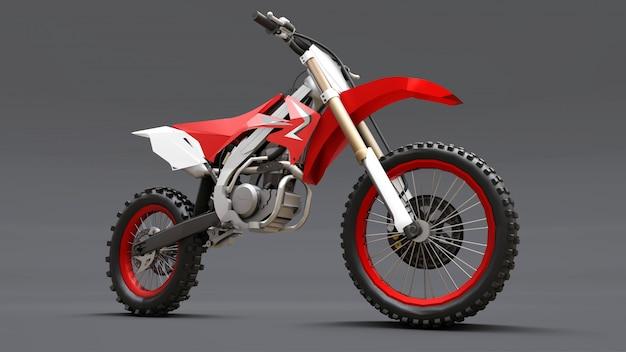 Красно-белый спортивный мотоцикл для кросса на сером