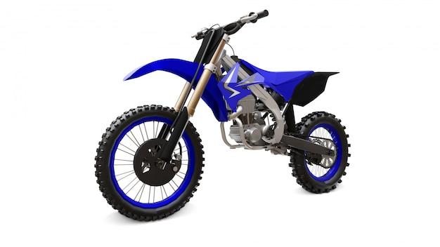 白地にクロスカントリーの青と黒のスポーツバイク