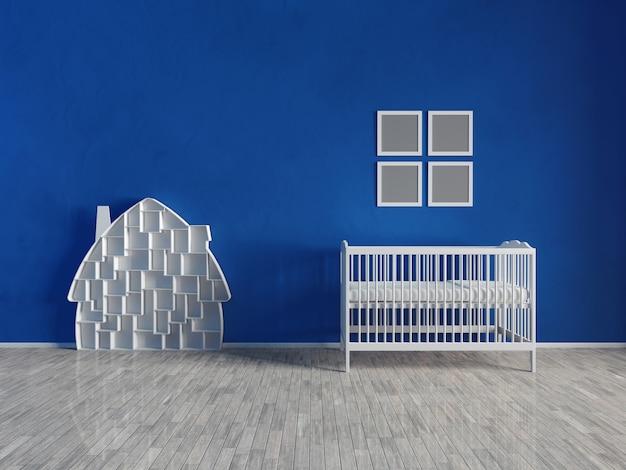 Интерьер детской комнаты синего цвета. белая мебель и игрушки. немного мебели и предметов.