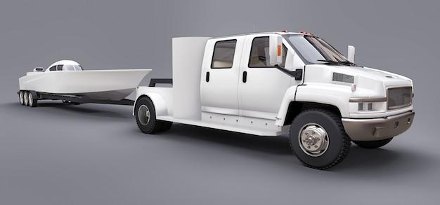 灰色のレーシングボートを輸送するためのトレーラーと白いトラック