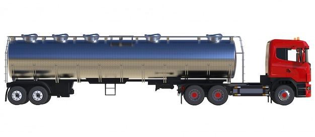 磨かれた金属のトレーラーが付いている大きい赤いトラックのタンカー