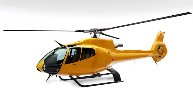 Желтый вертолет, изолированный на белом