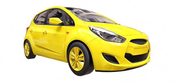 空白の表面を持つ黄色の都市車