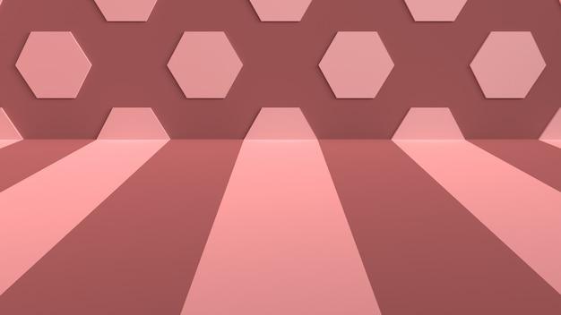 床にストライプと壁に六角形のスタジオの背景