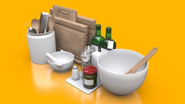 黄色の瓶の中の台所用品、オイル、缶詰の野菜
