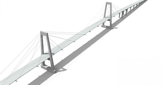 高架道路がある斜張橋