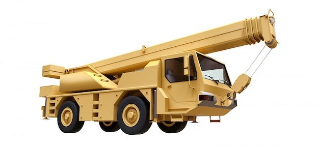 Светло-желтый мобильный кран трехмерный