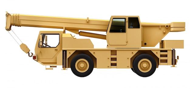 薄黄色のクレーン車