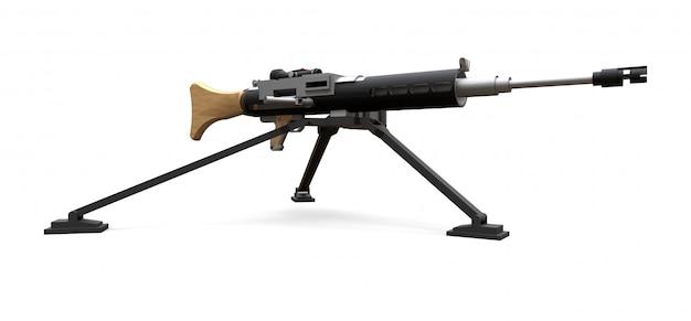 完全なカセット弾薬を備えた三脚上の大型機関銃