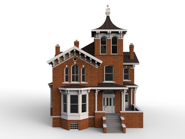 ビクトリア朝様式の古い家。白い背景の上の図。