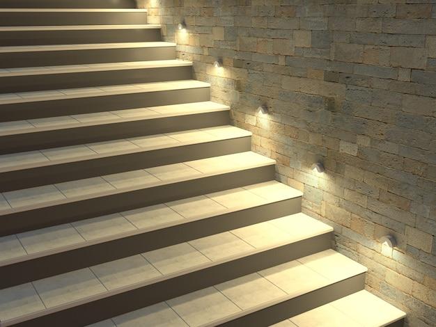 バックライト付きの階段とモダンな階段