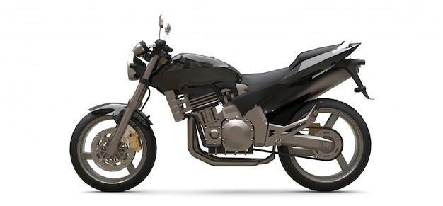 Черный городской спортивный двухместный мотоцикл