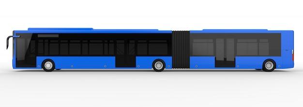 ラッシュアワーや人の輸送中に大きな乗客を乗せるための追加の細長い部分を備えた大都市バス。画像と碑文を配置するためのモデルテンプレート。