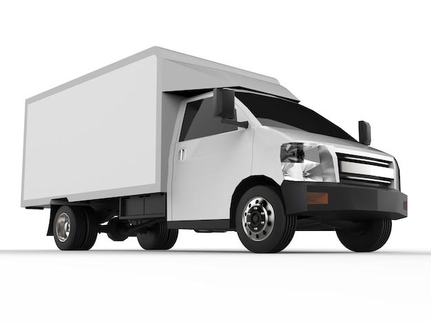 小さな白いトラック車配達サービス小売店への商品および製品の配達