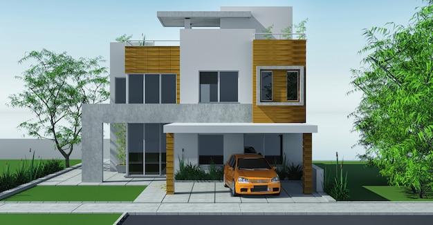 ミニガーデンとカーポート芝生のあるモダンな家。