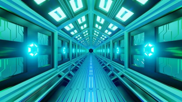 宇宙遊歩道を持つ宇宙船の未来的な六角形のトンネル。柔らかい青緑色の光、廊下の壁にランプ。