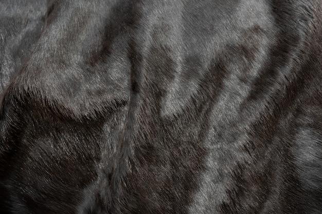 毛皮牛革テクスチャ背景の動物の髪。ふわふわの自然な黒革の肌。