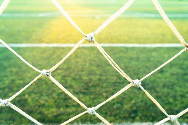 緑のサッカー場の景色の後ろ。
