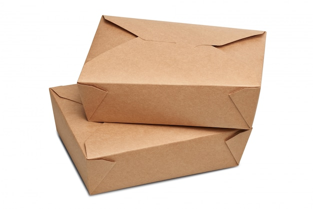 Две коробки доставки пустой коробки для готовой к употреблению пищи