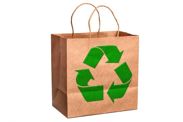 高級リサイクル紙ショッピングバッグとリサイクルシンボル
