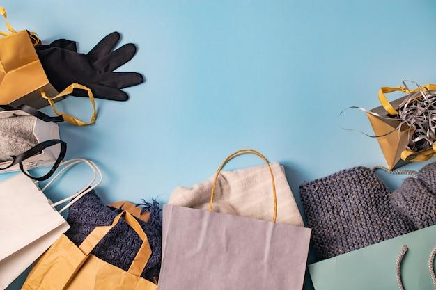 ショッピングバッグ、フラットレイアウト背景