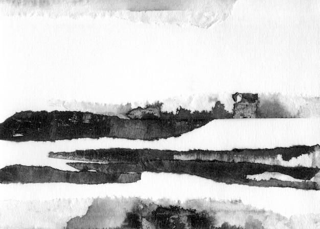 抽象的な風景インク手描きイラスト。川と黒と白のインクの冬の風景。ミニマルな手描き