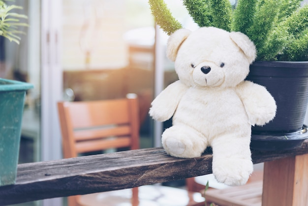 テディベアはすべての女性にとって親友です。ふわふわおもちゃの子遊び。