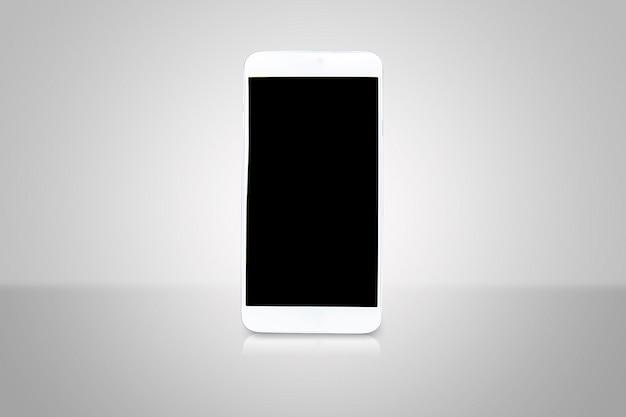 アートワーク広告テンプレートまたはパンフレットを作るための空白の画面を持つスマートフォン。