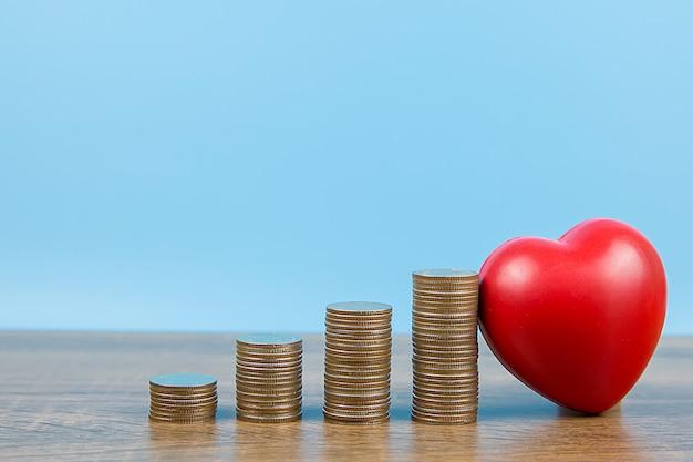 形のグラフと赤いハートに積み上げられたコインの山。健康診断と健康保険の概念。