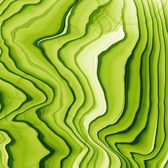 夏の抽象的な手には、緑と黄色の色調で水彩またはアルコールインクの背景が描画されます。トレンディなスタイル。ポリグラフに最適です。ラスター図。