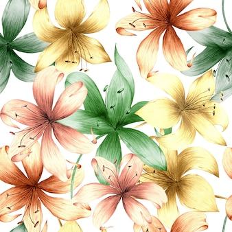 夏の花と明るい背景に葉の水彩のシームレスパターン。