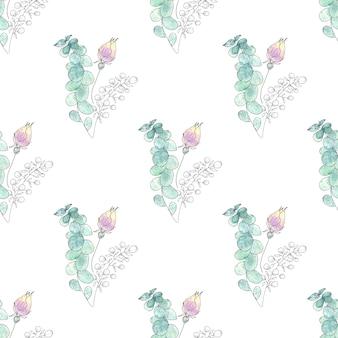 夏の花と葉の水彩画のシームレスパターン