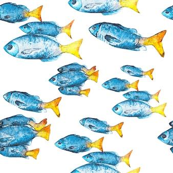 Акварель бесшовный фон из рыбы.