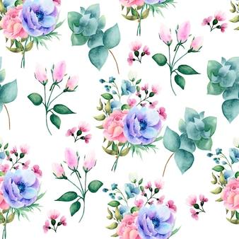 花で描かれた水彩シームレスパターンを手します。
