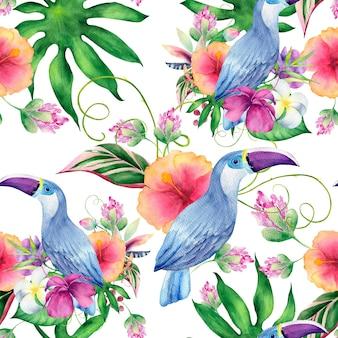 夏の花と葉の水彩のシームレスパターン
