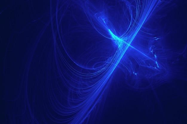 抽象的な青フラクタル光のストリークの背景