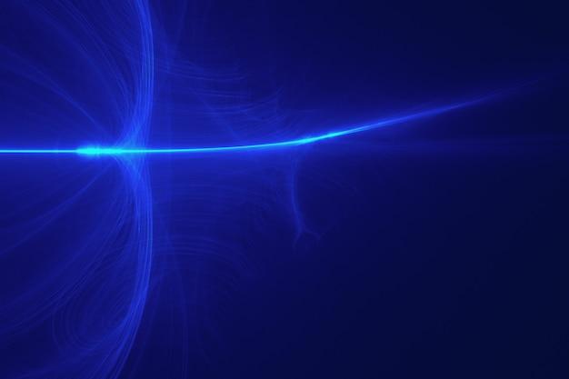 レンズのフレア効果を持つ青い背景