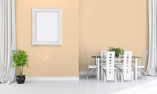 Современный яркий интерьер с пустой рамкой для фотографий