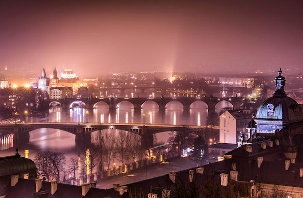 Прага и река влтава с холма летна