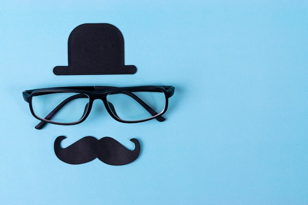 メガネで口ひげの意識の背景。