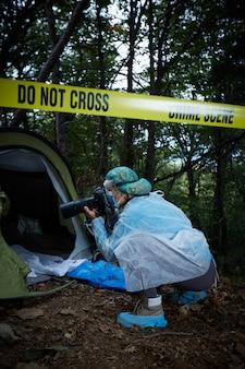 Место преступления в лесу