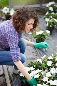 庭の店で働く人々