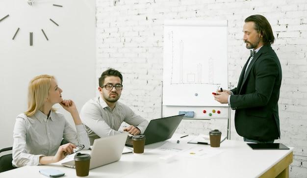 ホワイトボードの近くに立っている魅力的なビジネスマンは、チームに彼のビジネスアイデアを提示します。同僚はオフィスのテーブルに座っているスピーカーに注意深く耳を傾けます。