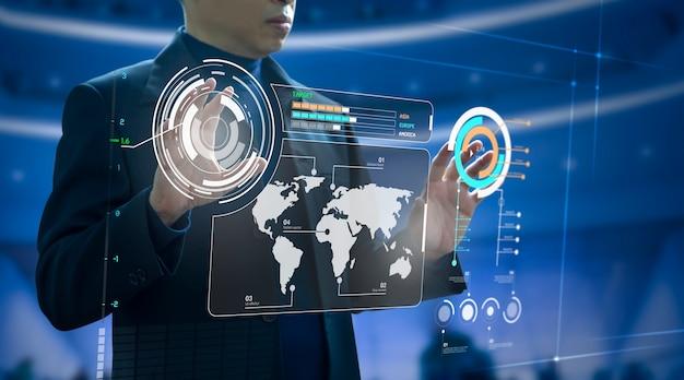 未来の仮想現代コンピューターのタッチスクリーンまたは拡張現実グラフィックスの前にビジネス投資リスク管理と投資分析の分析