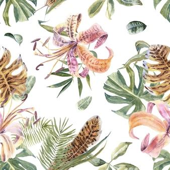 エキゾチックな花とヤシの葉を持つ熱帯のシームレスパターン