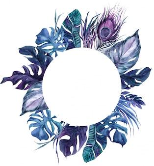 ラウンドフレームエキゾチックな鳥の羽と熱帯の葉の花輪