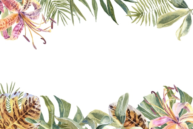 Лили цветы из шкуры с принтом, тропические листья рамка. экзотическая цветочная граница