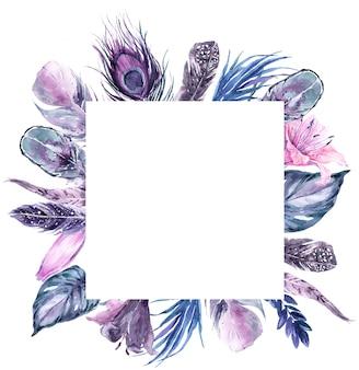 正方形のフレームエキゾチックな鳥の羽と熱帯の葉の花輪