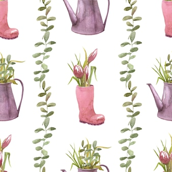 庭の水まき缶で春の庭組成シームレスパターン